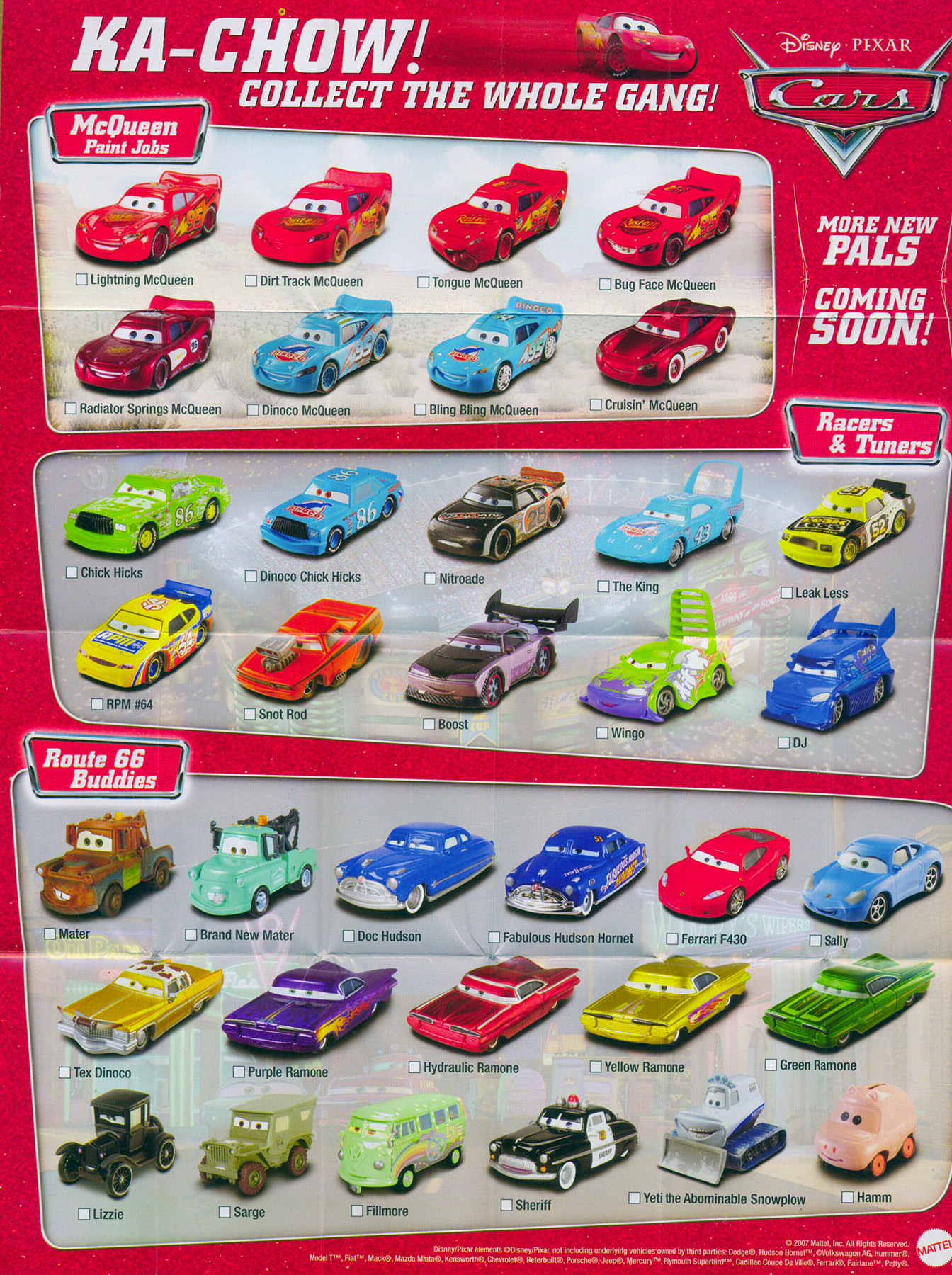 Cars Character Poster Disney Pixar Cars The Toys