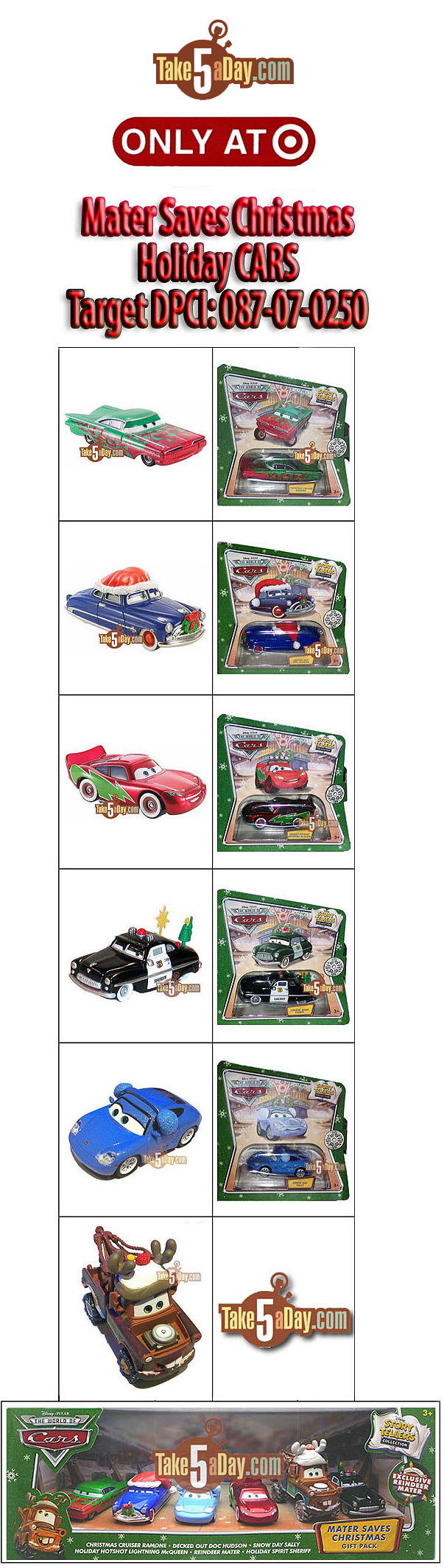 Mattel Disney Pixar Diecast CARS: Mater Saves Christmas CARS At ...
