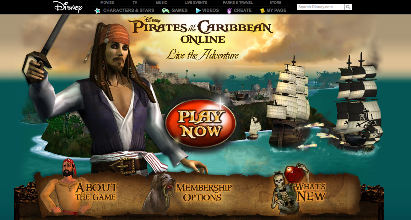Pirates of the Caribbean home page