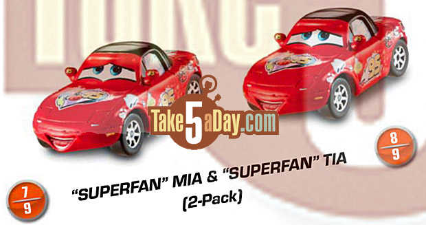 mattel disney pixar cars deluxe superfan mia tia mater allinol take five a day. Black Bedroom Furniture Sets. Home Design Ideas