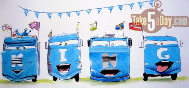 mattel disney pixar cars martin a convoy brothers original sketch ebay sale take five a day. Black Bedroom Furniture Sets. Home Design Ideas