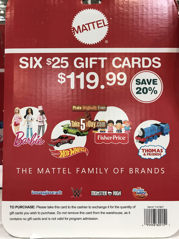 Mattel Costco Gift Card 20 Off Stack Them Coupon