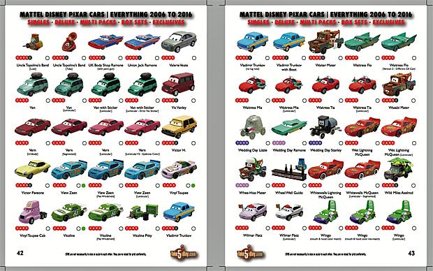 Mattel Disney Pixar Cars Complete Everything Alphabetical