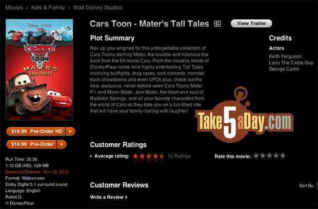 Take Five a Day » Blog Archive » Disney Pixar CARS: iTunes Mater