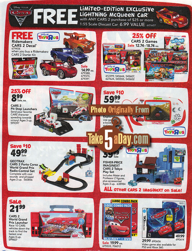 Take Five A Day Blog Archive Mattel Disney Pixar Cars 2 Diecasts Toys R Us Free Car Sale