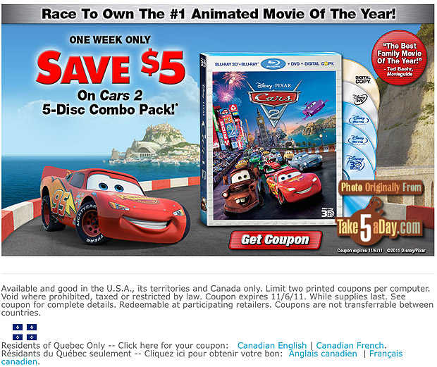 disney pixar cars 2 dvd blu ray coupons rebates offers take five a day. Black Bedroom Furniture Sets. Home Design Ideas