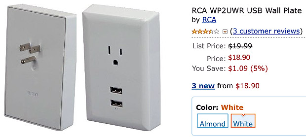 Single Power Outlet Wall Adapter Plate WP2UWR RCA Dual USB 3 Pack