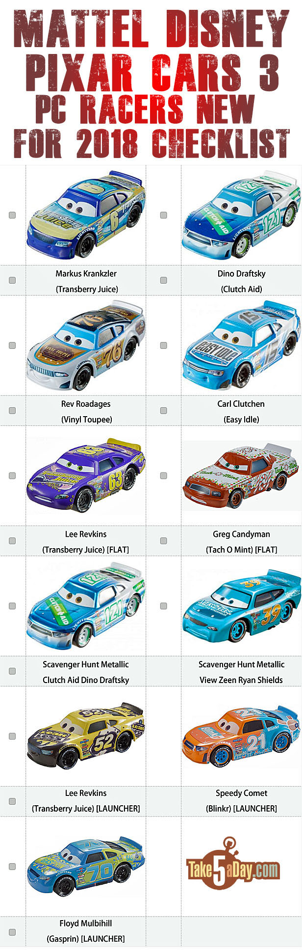 "Mattel Disney Pixar CARS: Piston Cup ""New"" Racers 2018 Checklist"