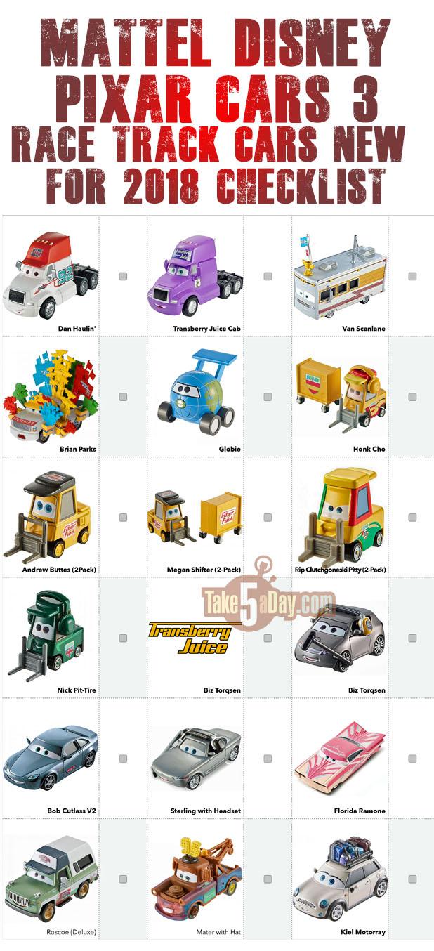 Mattel Disney Pixar CARS: 2018 Mainline Singles - At the Track Checklist