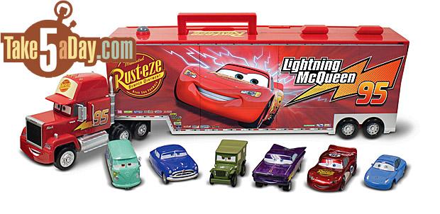 Disney Pixar CARS: Disney Store Mack with 6 Pullback CARS